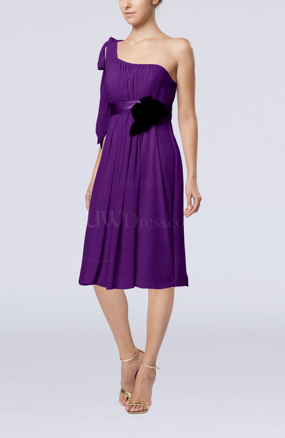 Dark purple plain one shoulder sleeveless zipper chiffon for One shoulder dress for wedding guest