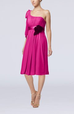 Hot Pink Plain One Shoulder Sleeveless Zipper Chiffon Flower Wedding Guest Dresses