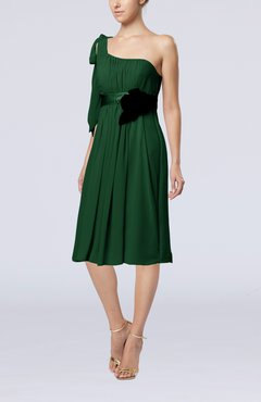 Hunter Green Plain One Shoulder Sleeveless Zipper Chiffon Flower Wedding Guest Dresses
