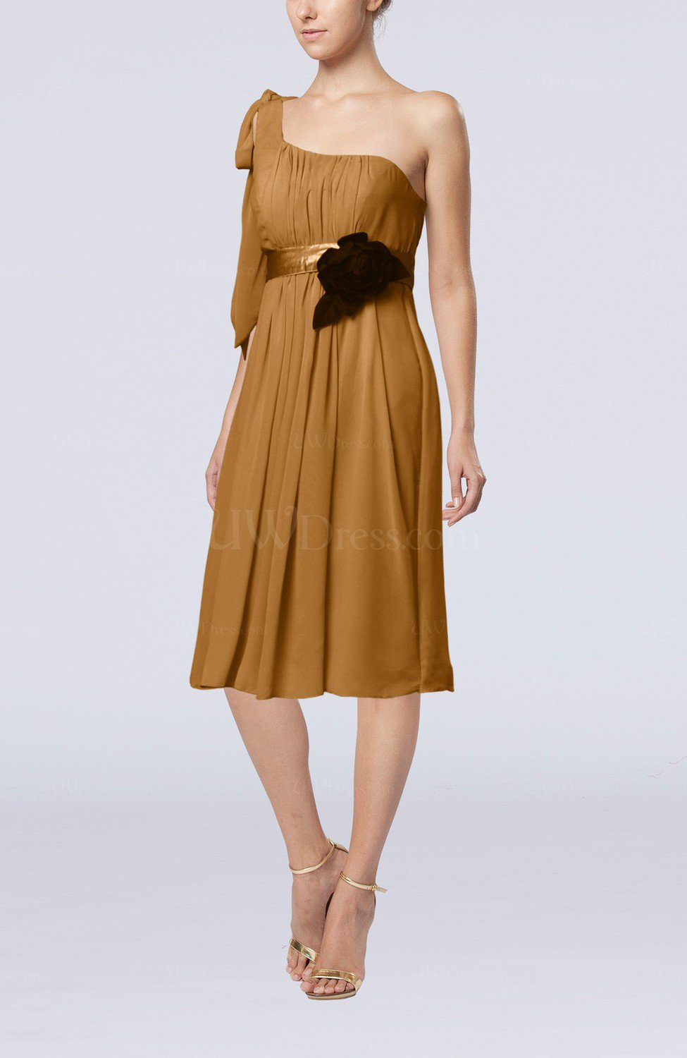 Light brown plain one shoulder sleeveless zipper chiffon for Brown dresses for wedding guest