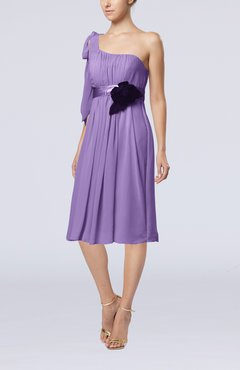 Lilac Plain One Shoulder Sleeveless Zipper Chiffon Flower Wedding Guest Dresses