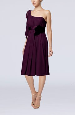 Plum Plain One Shoulder Sleeveless Zipper Chiffon Flower Wedding Guest Dresses