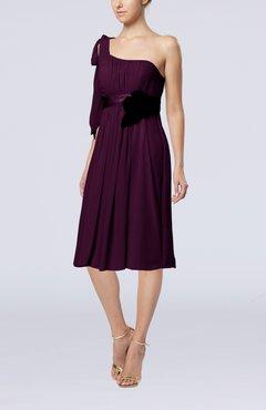 Plum Plain One Shoulder Sleeveless Zipper Chiffon Flower Wedding Guest  Dresses