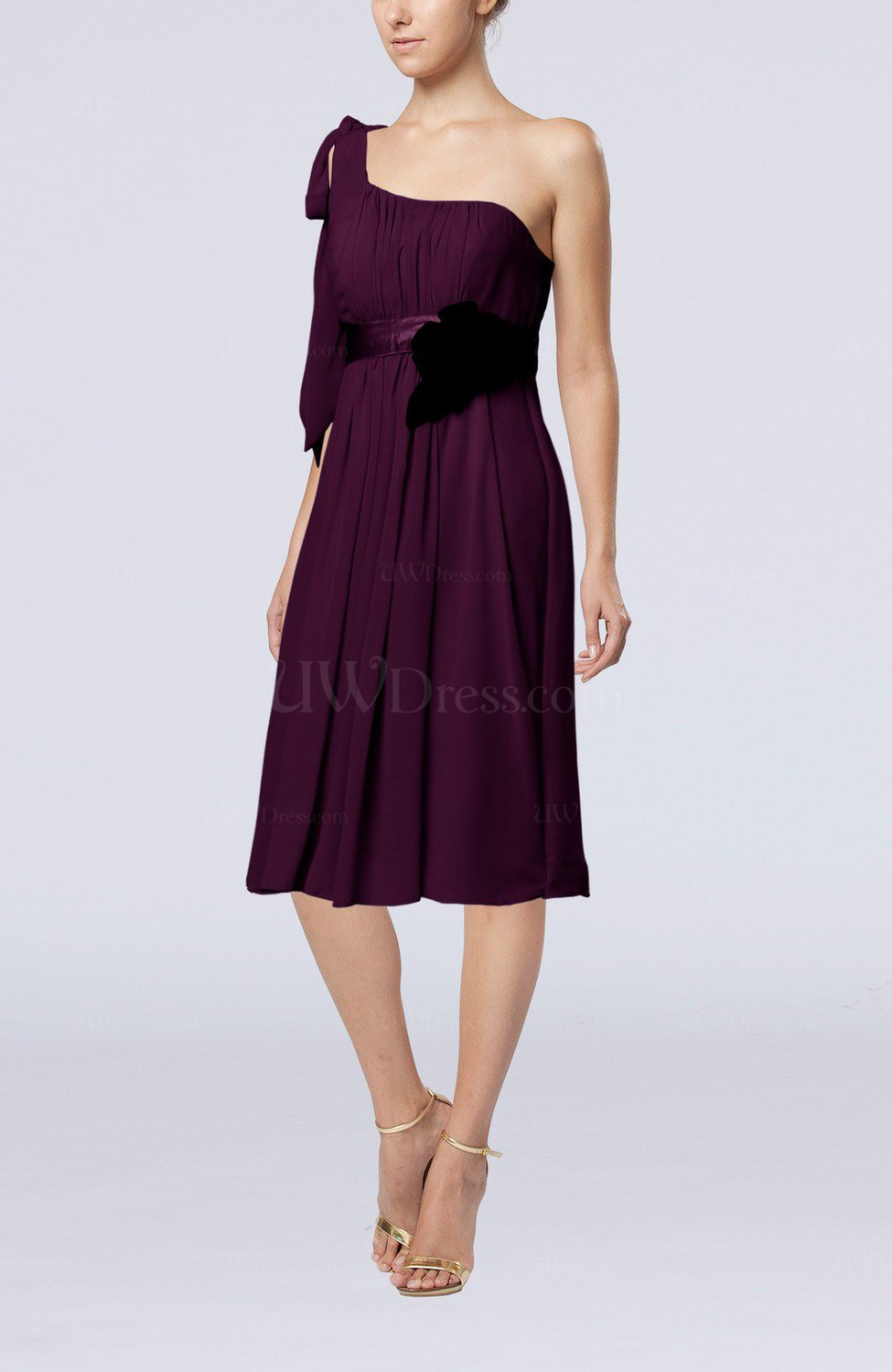 Plum plain one shoulder sleeveless zipper chiffon flower for One shoulder dress for wedding guest
