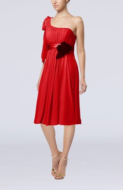 Red Plain One Shoulder Sleeveless Zipper Chiffon Flower Wedding Guest Dresses