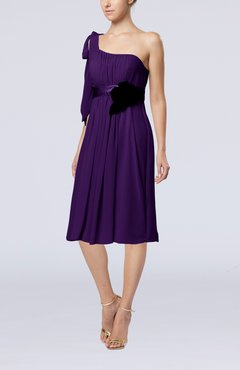 Royal Purple Plain One Shoulder Sleeveless Zipper Chiffon Flower Wedding Guest Dresses