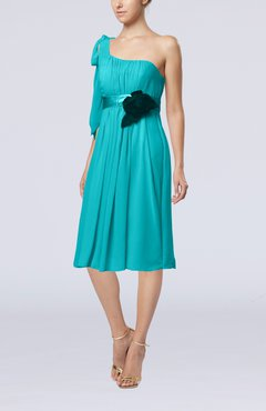 Teal Plain One Shoulder Sleeveless Zipper Chiffon Flower Wedding Guest Dresses