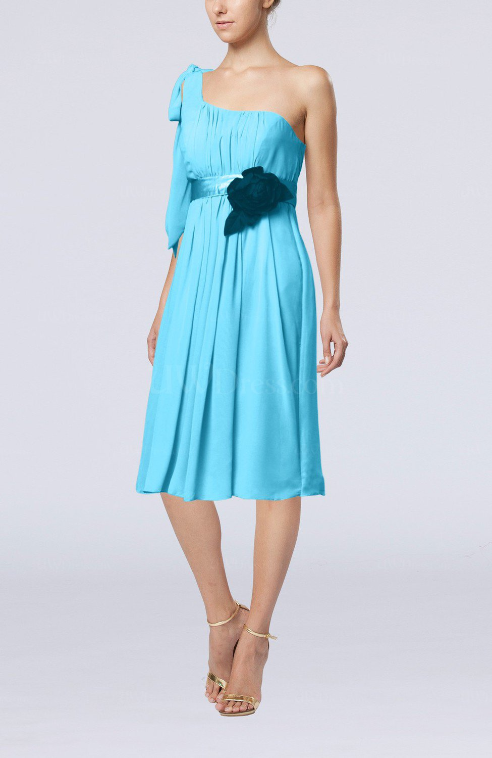 Turquoise plain one shoulder sleeveless zipper chiffon for One shoulder dress for wedding guest
