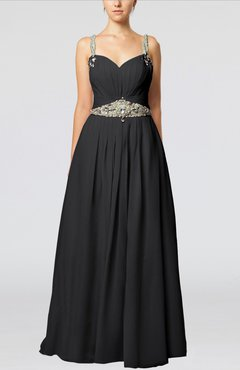 Black Glamorous Thick Straps Sleeveless Chiffon Floor Length Pleated Evening Dresses