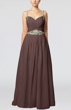 Chocolate Brown Glamorous Thick Straps Sleeveless Chiffon Floor Length Pleated Evening Dresses