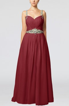 Dark Red Glamorous Thick Straps Sleeveless Chiffon Floor Length Pleated Evening Dresses