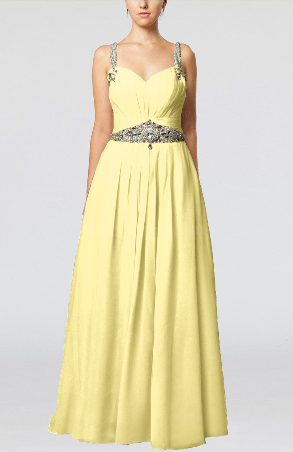 Floor Color >> Pastel Yellow Glamorous Thick Straps Sleeveless Chiffon ...