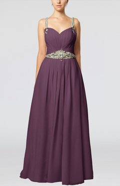 Plum Glamorous Thick Straps Sleeveless Chiffon Floor Length Pleated Evening Dresses