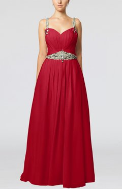 Red Glamorous Thick Straps Sleeveless Chiffon Floor Length Pleated Evening Dresses