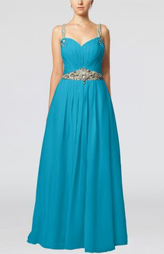 Teal Glamorous Thick Straps Sleeveless Chiffon Floor Length Pleated Evening Dresses