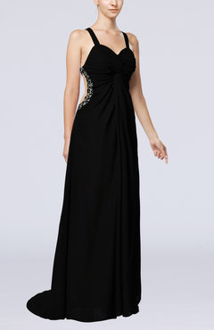 Black Sexy Thick Straps Sleeveless Backless Chiffon Evening Dresses