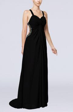 Backless Black Dress on Sleeveless Criss Cross Straps Sweep Train Split Front Prom Dresses
