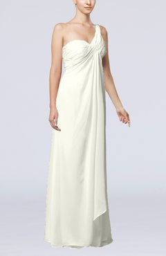 Cream Romantic Beach Sleeveless Zip up Floor Length Draped Bridal Gowns