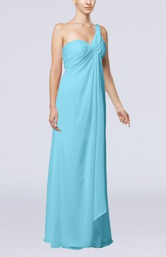 Light Blue Romantic Beach Sleeveless Zip up Floor Length Draped Bridal Gowns