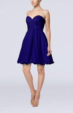 Electric Blue Cinderella A-line Sleeveless Backless Chiffon Pleated Graduation Dresses