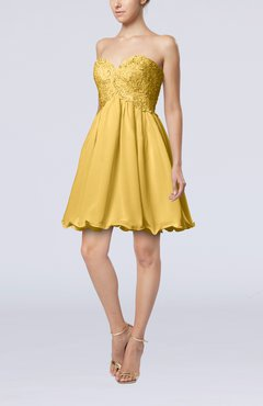 Gold Cinderella A-line Sleeveless Backless Chiffon Pleated Graduation Dresses