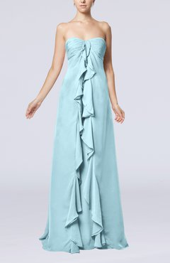Aqua Simple Empire Sweetheart Zip up Chiffon Sweep Train Wedding Guest Dresses
