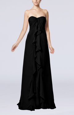 Black Simple Empire Sweetheart Zip up Chiffon Sweep Train Wedding Guest Dresses