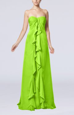 Bright Green Simple Empire Sweetheart Zip up Chiffon Sweep Train Wedding Guest Dresses