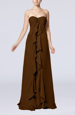 Brown Simple Empire Sweetheart Zip up Chiffon Sweep Train Wedding Guest Dresses