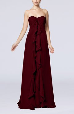 Burgundy Simple Empire Sweetheart Zip up Chiffon Sweep Train Wedding Guest Dresses
