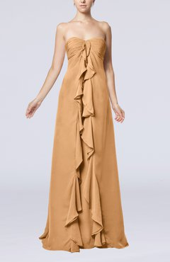 Burnt Orange Simple Empire Sweetheart Zip up Chiffon Sweep Train Wedding Guest Dresses