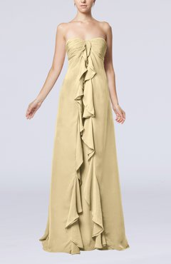 Champagne Simple Empire Sweetheart Zip up Chiffon Sweep Train Wedding Guest Dresses