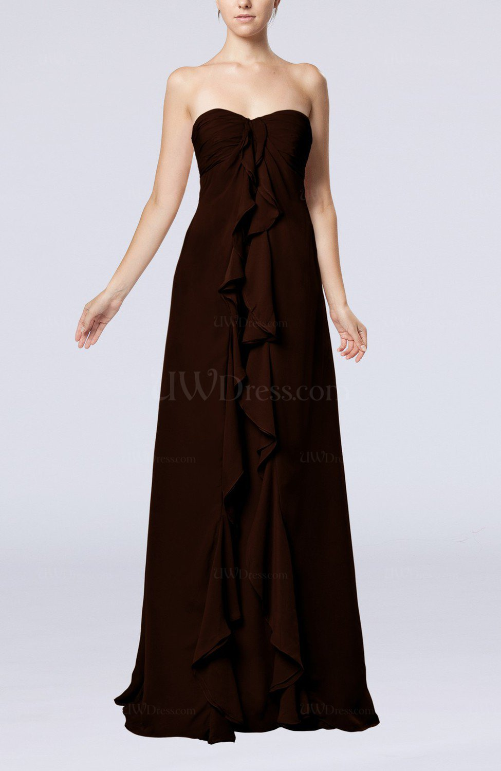 Chocolate brown simple empire sweetheart zip up chiffon for Brown dresses for wedding guest