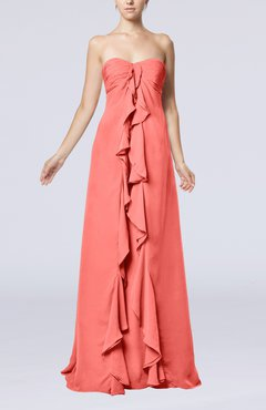 Coral Simple Empire Sweetheart Zip up Chiffon Sweep Train Wedding Guest Dresses