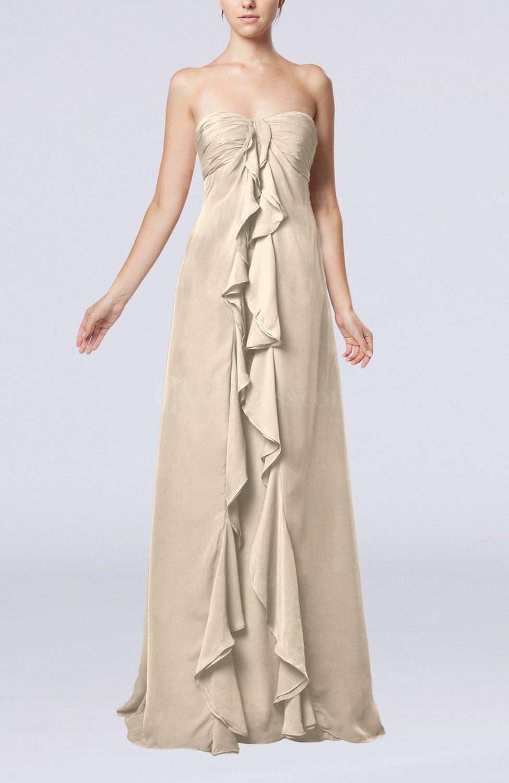 Cream simple empire sweetheart zip up chiffon sweep train for Simple cream wedding dresses