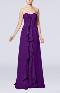 Dark Purple Simple Empire Sweetheart Zip up Chiffon Sweep Train Wedding Guest Dresses