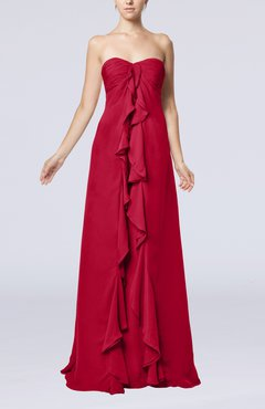 Dark Red Simple Empire Sweetheart Zip up Chiffon Sweep Train Wedding Guest Dresses