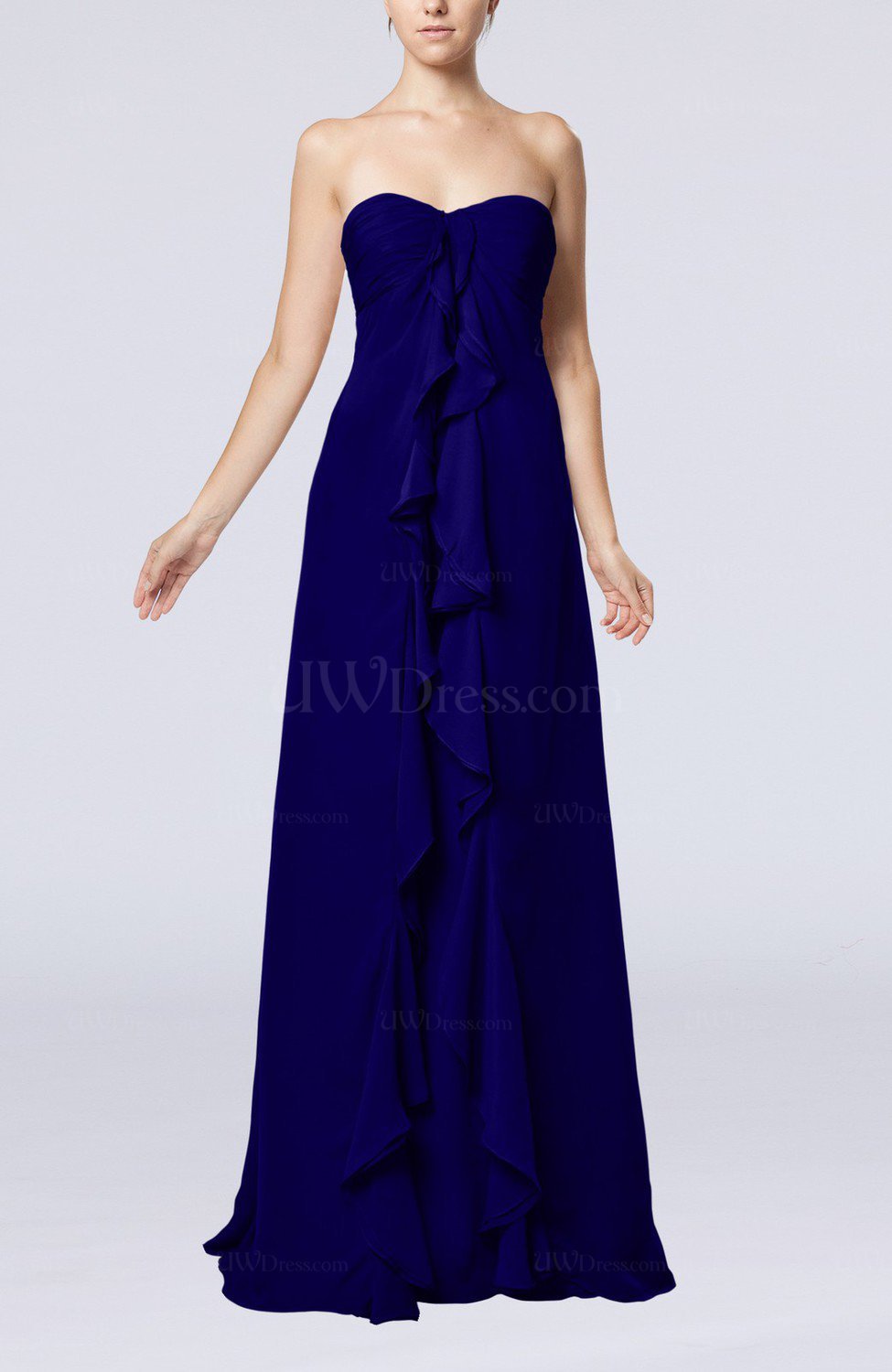 Electric Blue Wedding Guest Dresses : Blue simple empire sweetheart zip up chiffon sweep train wedding guest
