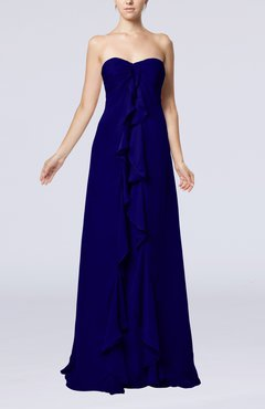 Electric Blue Simple Empire Sweetheart Zip up Chiffon Sweep Train Wedding Guest Dresses