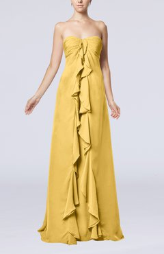 Gold Simple Empire Sweetheart Zip up Chiffon Sweep Train Wedding Guest Dresses