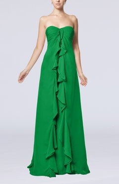 Green Simple Empire Sweetheart Zip up Chiffon Sweep Train Wedding Guest Dresses