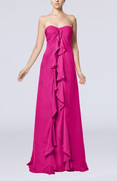 Hot Pink Simple Empire Sweetheart Zip up Chiffon Sweep Train Wedding Guest Dresses