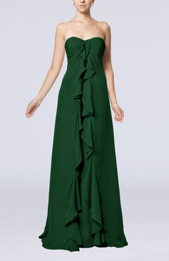 Hunter Green Simple Empire Sweetheart Zip up Chiffon Sweep Train Wedding Guest Dresses