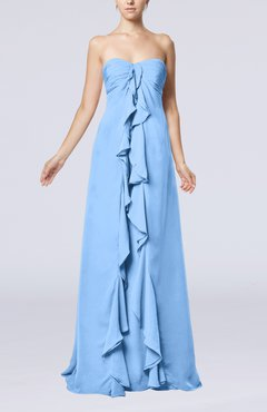 Light Blue Simple Empire Sweetheart Zip up Chiffon Sweep Train Wedding Guest Dresses