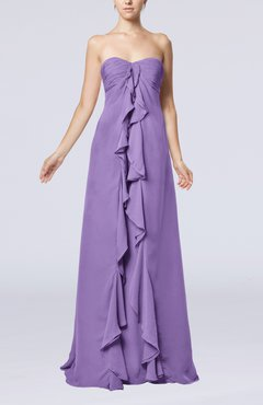 Lilac Simple Empire Sweetheart Zip up Chiffon Sweep Train Wedding Guest Dresses