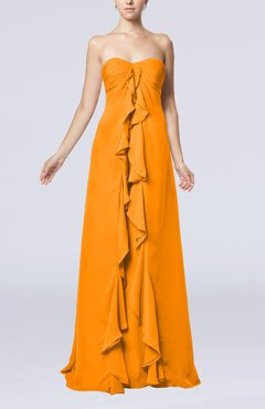 Orange Simple Empire Sweetheart Zip up Chiffon Sweep Train Wedding Guest Dresses