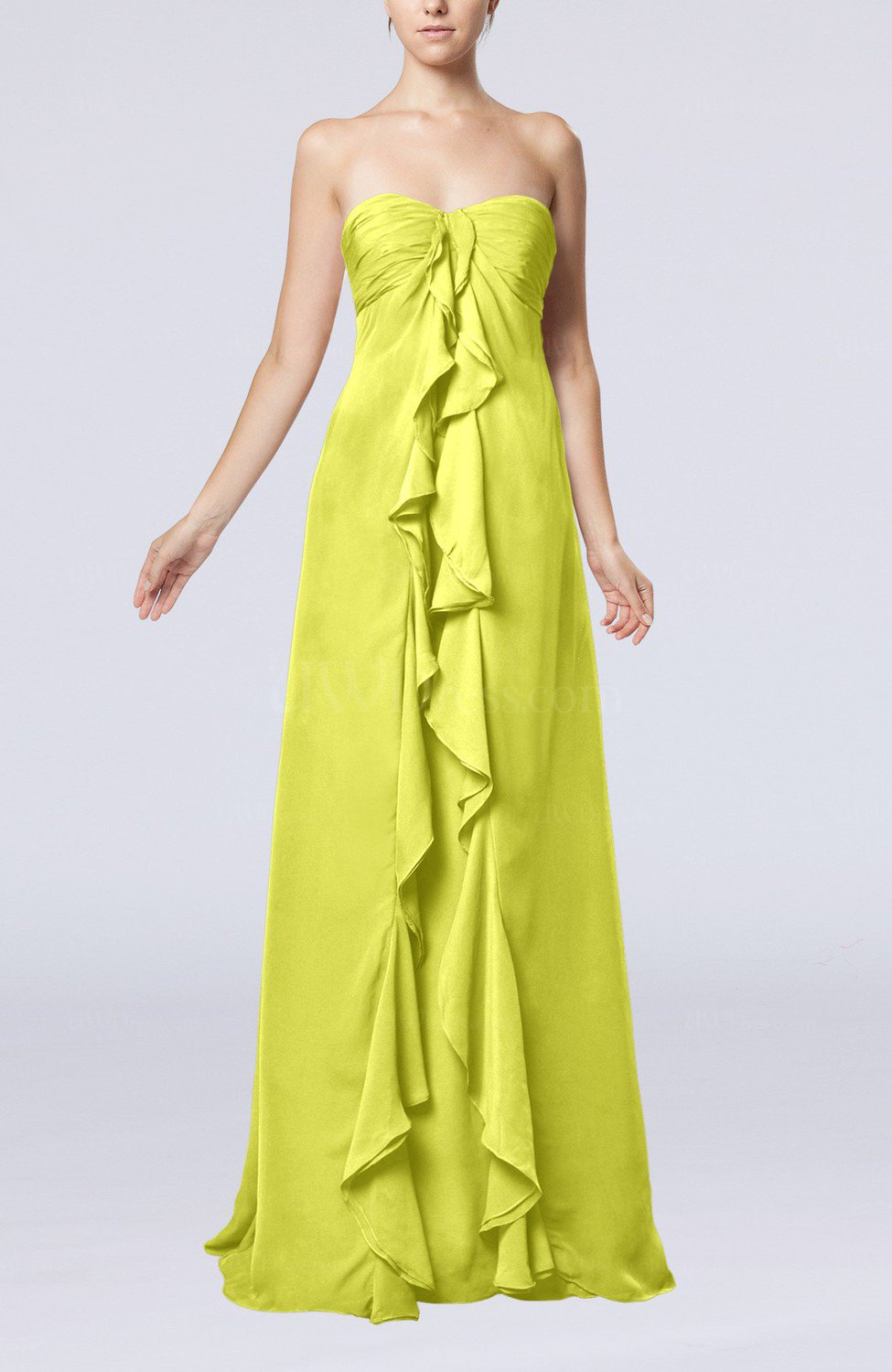 Pale yellow simple empire sweetheart zip up chiffon sweep for Yellow wedding guest dress