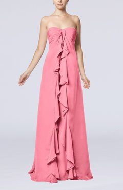 Pink Simple Empire Sweetheart Zip up Chiffon Sweep Train Wedding Guest Dresses