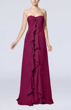 Raspberry Simple Empire Sweetheart Zip up Chiffon Sweep Train Wedding Guest Dresses