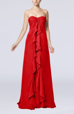 Red Simple Empire Sweetheart Zip up Chiffon Sweep Train Wedding Guest Dresses